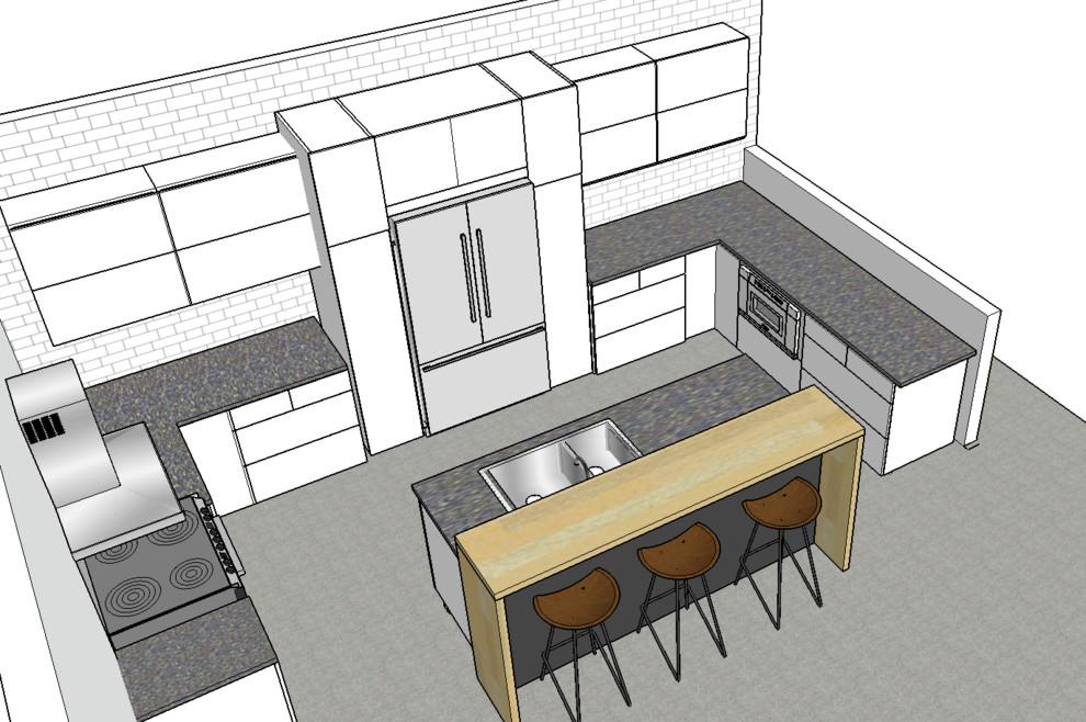 Белый в интерьере кухни: план помещения