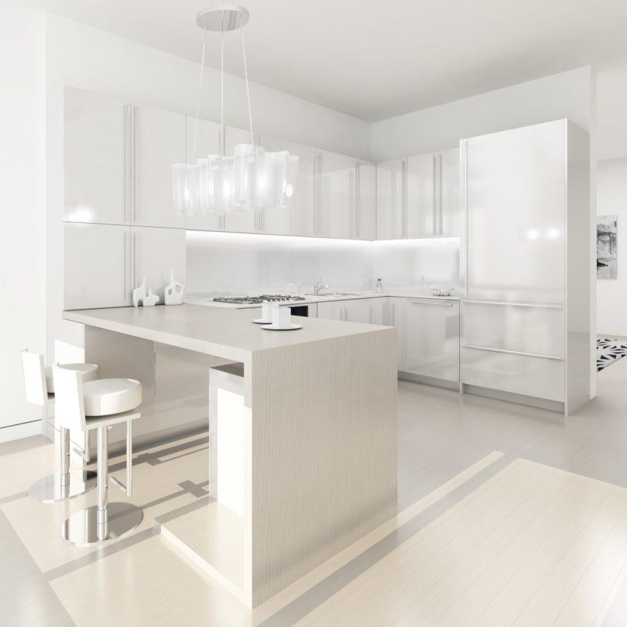 Белые кухни: дизайнерский светильник над столом