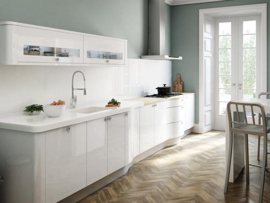 Белые кухни: паркетный пол