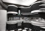 Изысканый дизайн чёрно-белой кухни
