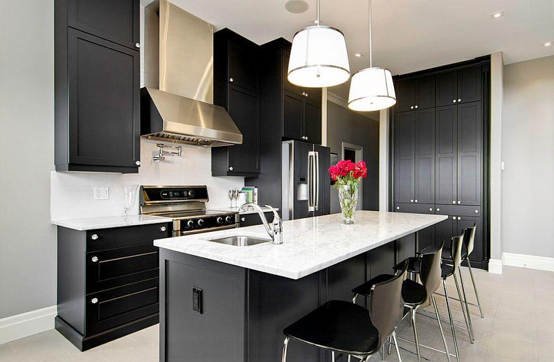 Интерьер кухни в черно-белых тонах в фото