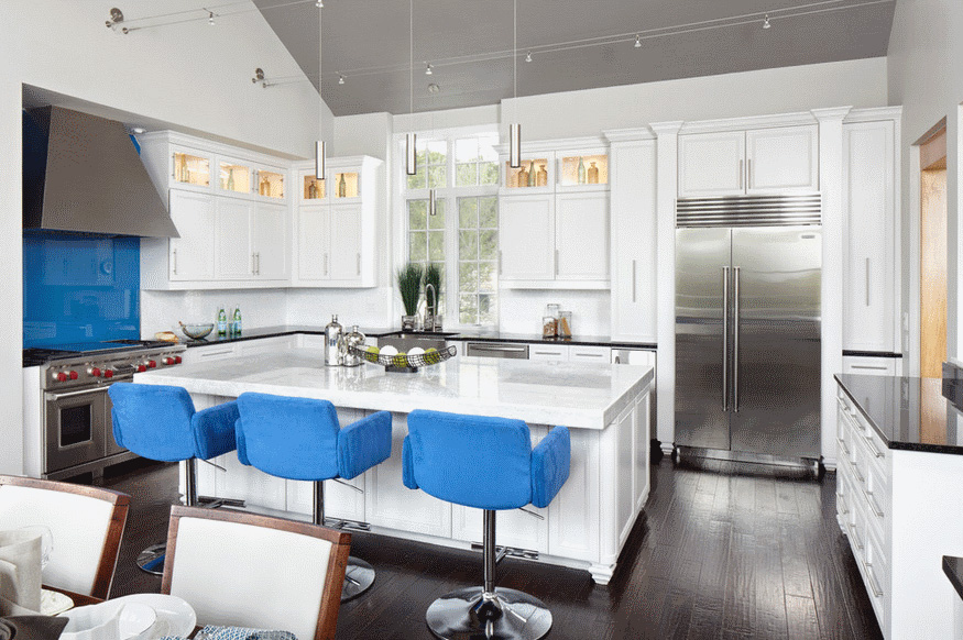 Синий и его оттенки в современном дизайне интерьера кухни
