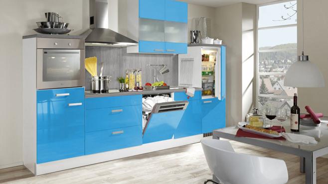 Великолепный дизайн интерьера кухни в голубых тонах