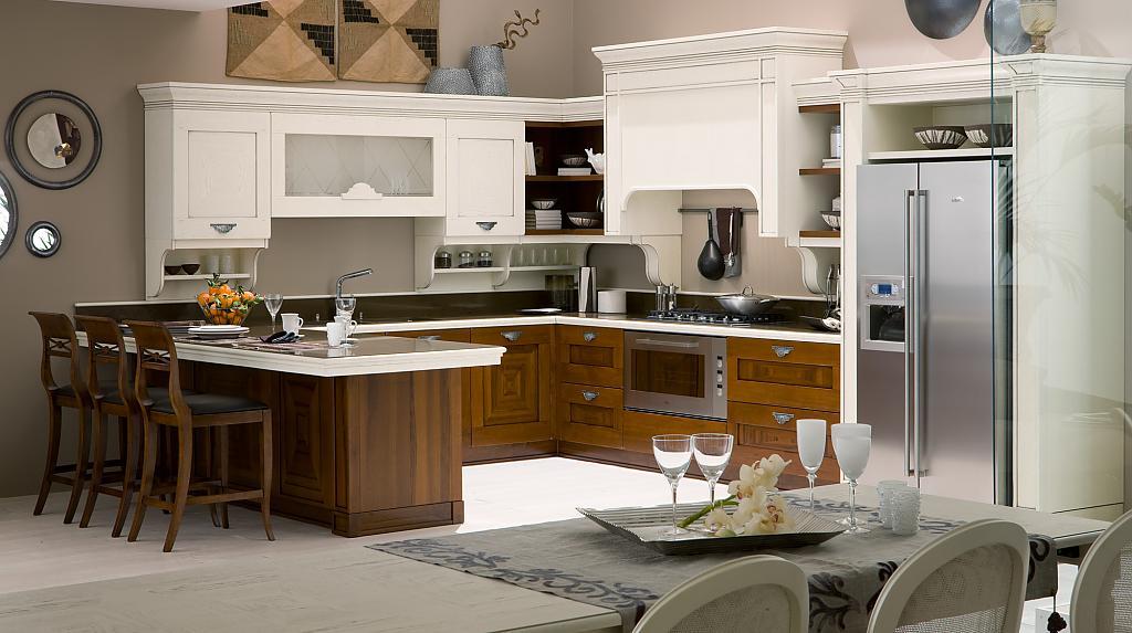 Коричневая кухня с белым