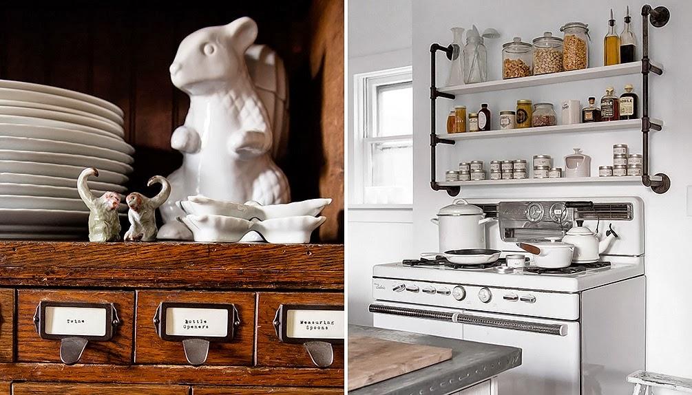 Фотоколлаж: оригинальные винтажные стеллажи и предметы декора в интерьере кухни
