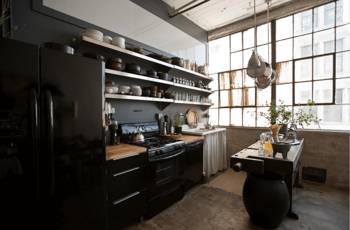 Чёрный цвет в дизайне кухни. Кухня в индустриальном стиле