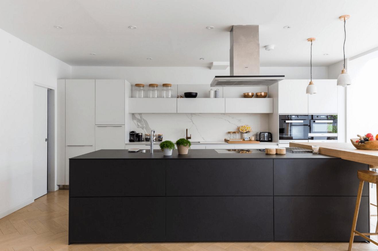 Матовый чёрный цвет в дизайне кухни