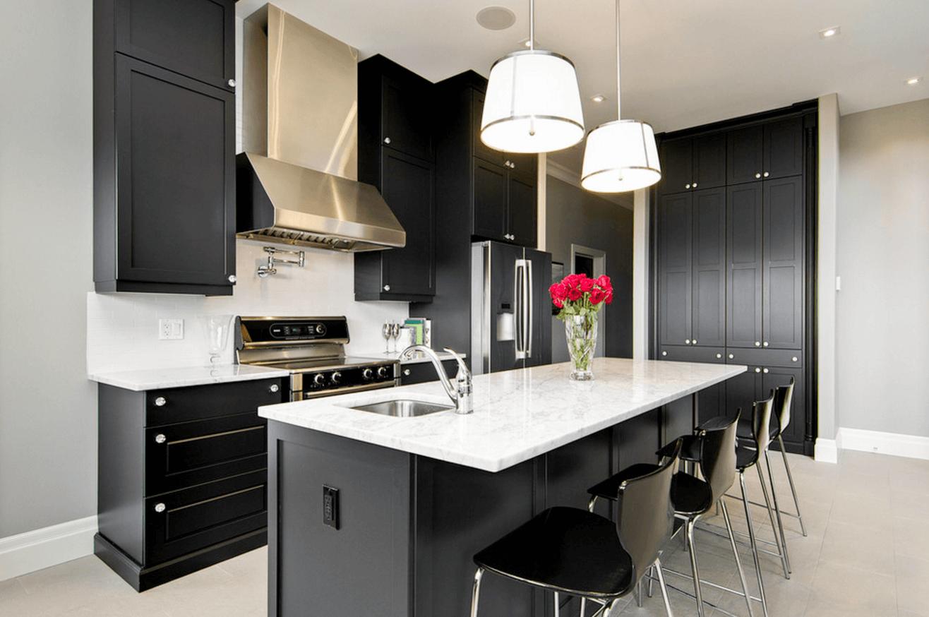 Чёрный цвет в дизайне кухни - фото 10