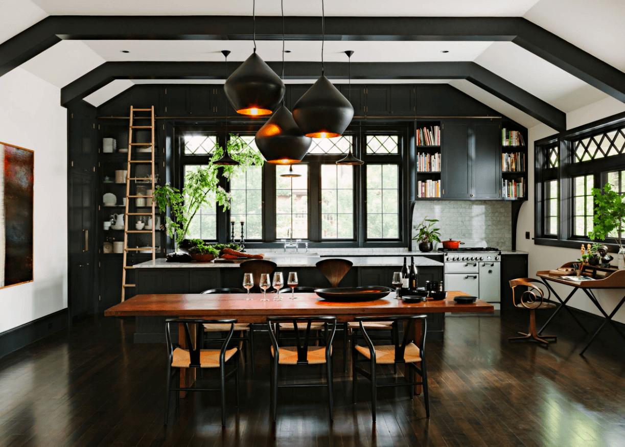 Чёрный цвет в дизайне кухни - фото 23