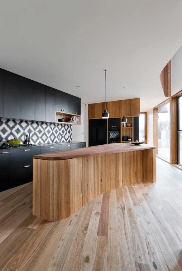 Чёрный цвет в дизайне кухни - фото 24