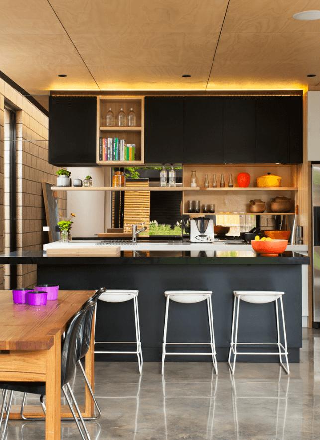 Чёрный цвет в дизайне кухни - фото 25