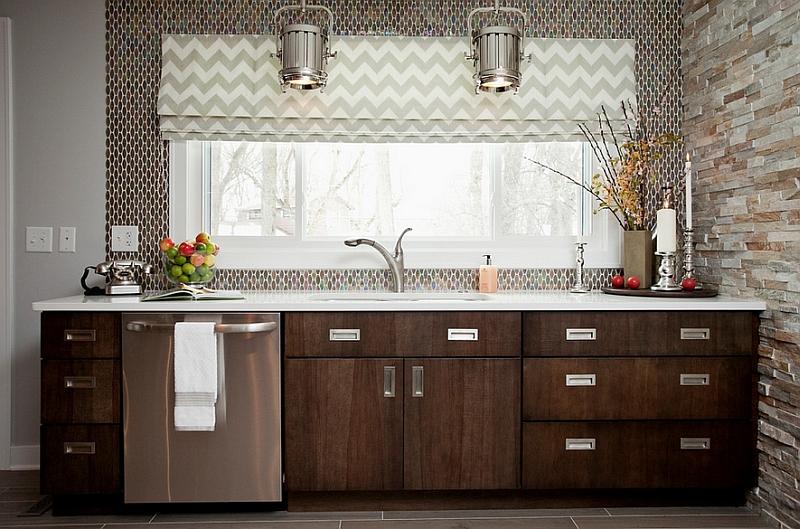 Стильный зигзагообразный принт в декоре интерьера кухни