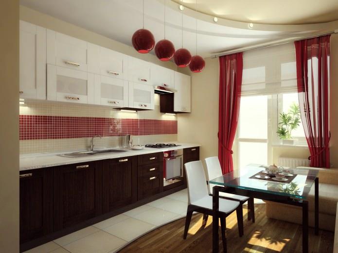 Потрясающий дизайн интерьера чёрно-белой кухни с красными акцентами