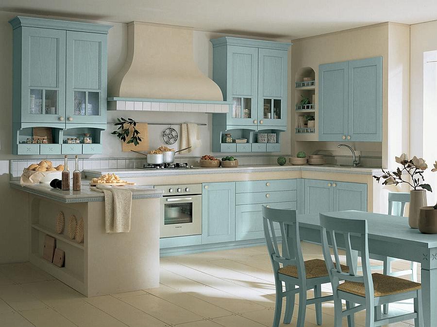Кухня Villiage от Arrital в голубом цвете