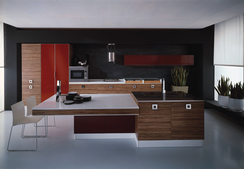 Стильный дизайн интерьера кухни в красно-чёрной гамме от European Cabinets & Design Studios