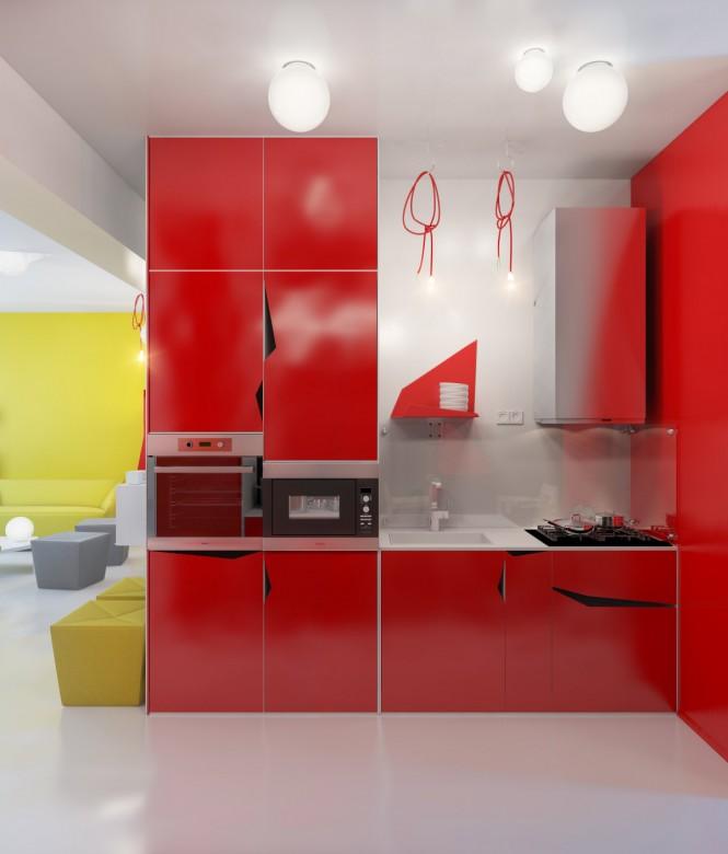 Интерьер кухни с красной мебелью