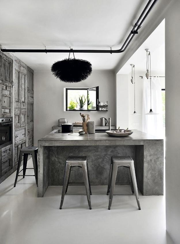 Дизайн рабочей зоны из бетона в интерьере кухни