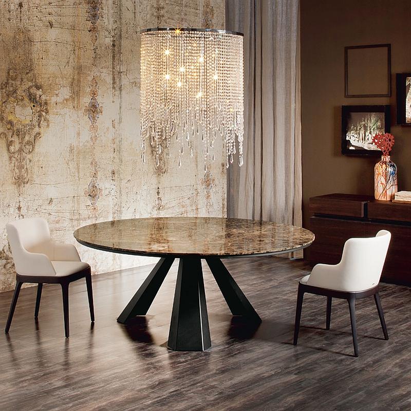 Роскошный круглый стол с необычной опорной конструкцией
