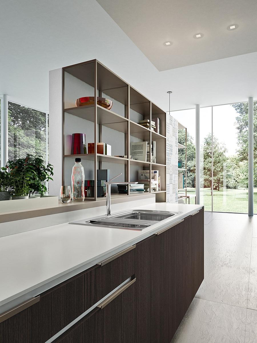 Полки для книг в интерьере кухни