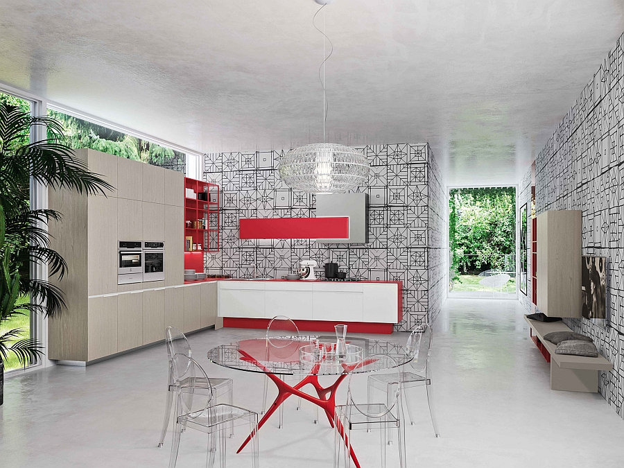 Столовая зона в центре кухни