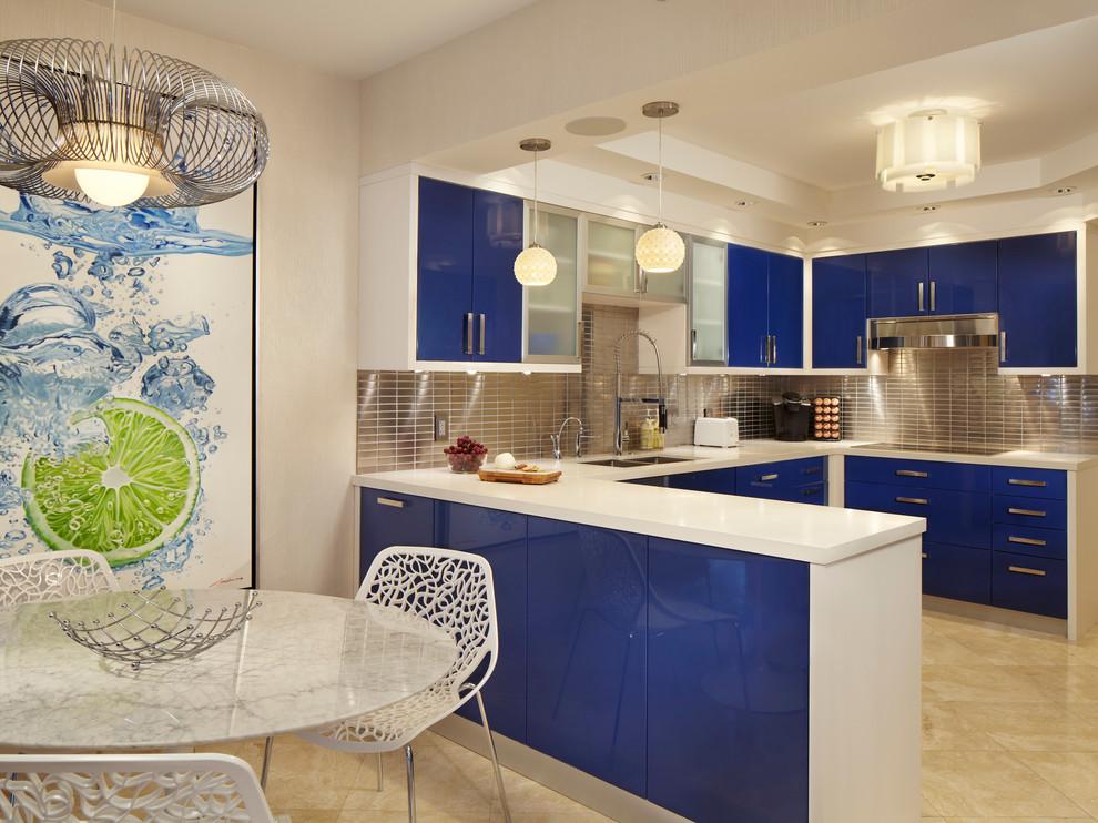 Фото интерьер кухни в синих тонах фото