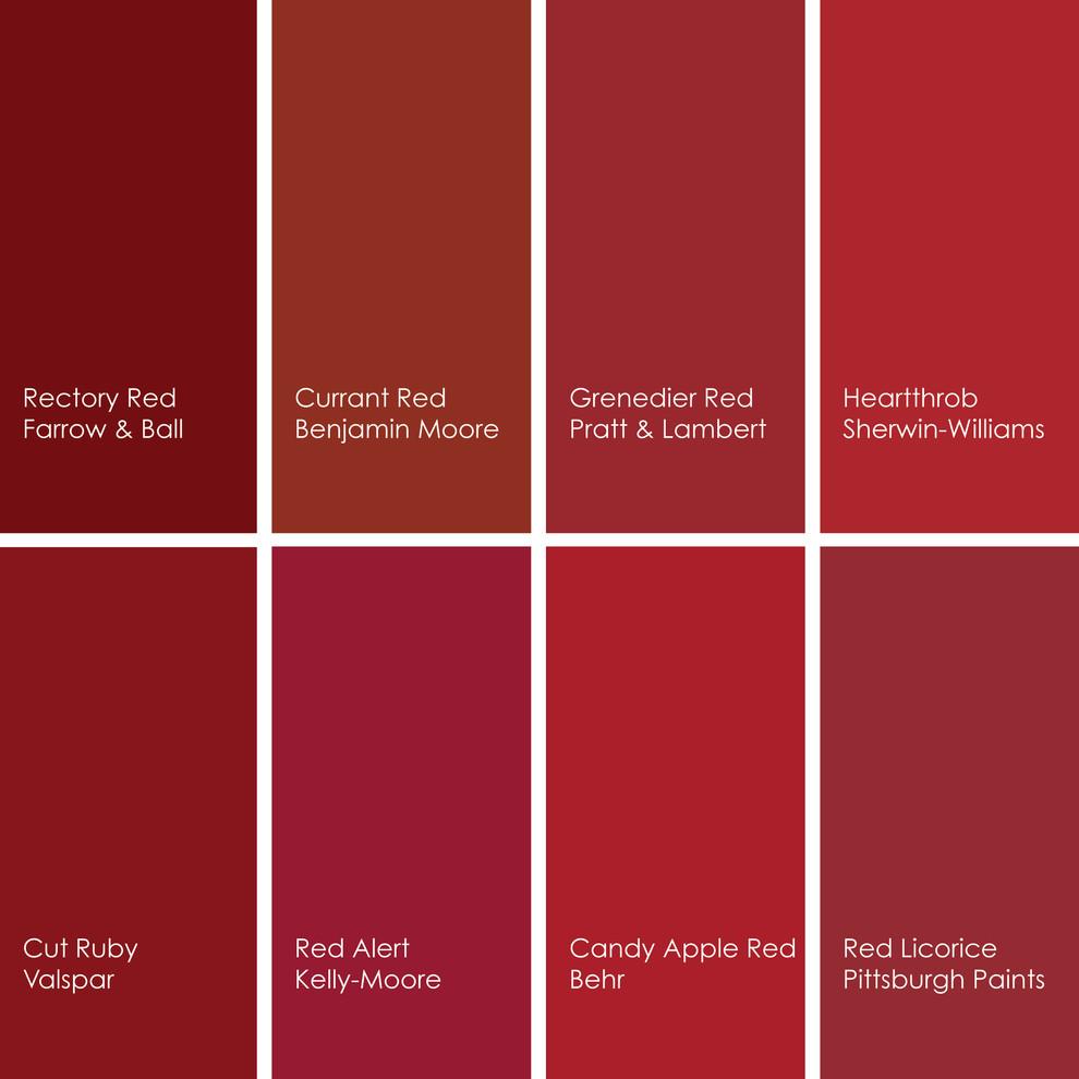Цветовая гамма оттенков красного