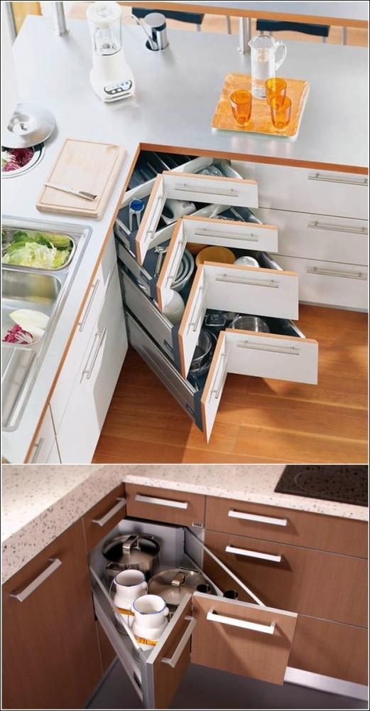 Выдвижные полки для хранения кухонных принадлежностей