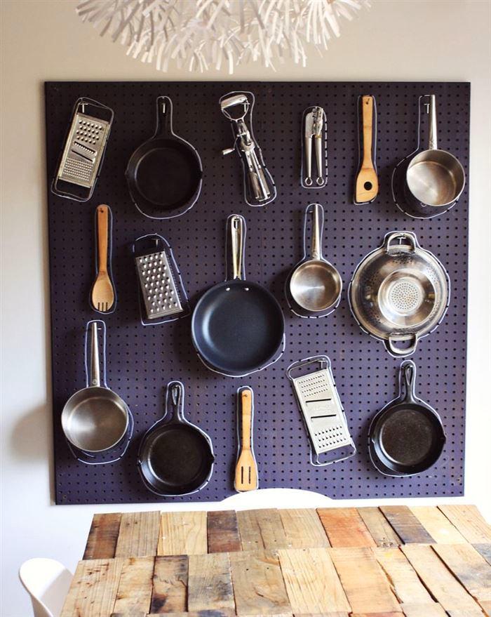 Стеновая панель для хранения кухонного инвентаря