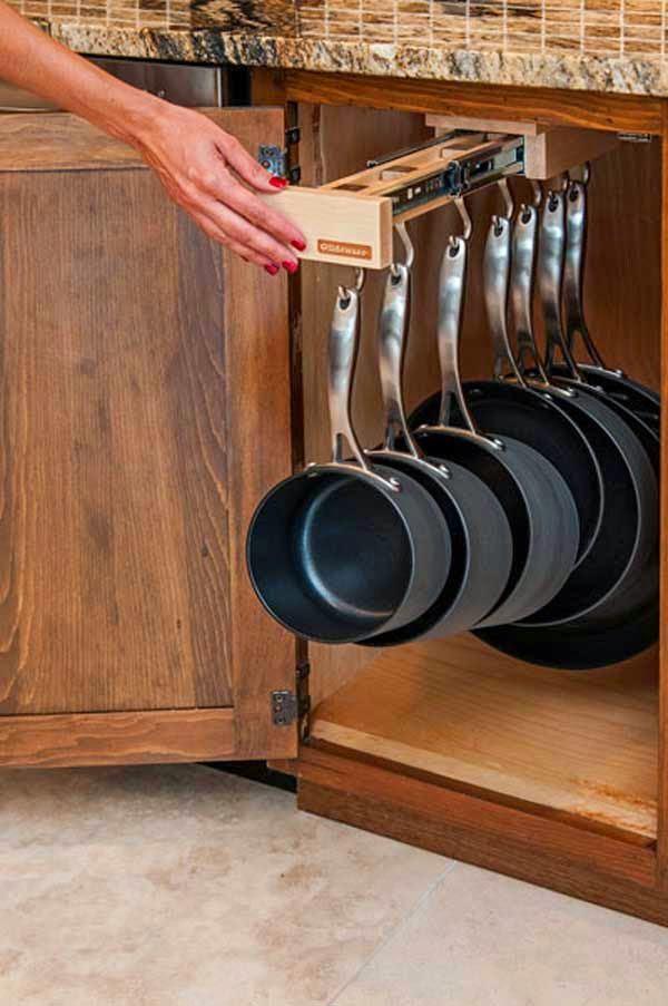 Выдвижная перекладина для хранения сковородок