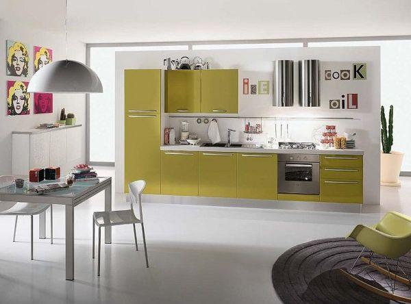 Кухня в стиле минимализм с салатовыми акцентами
