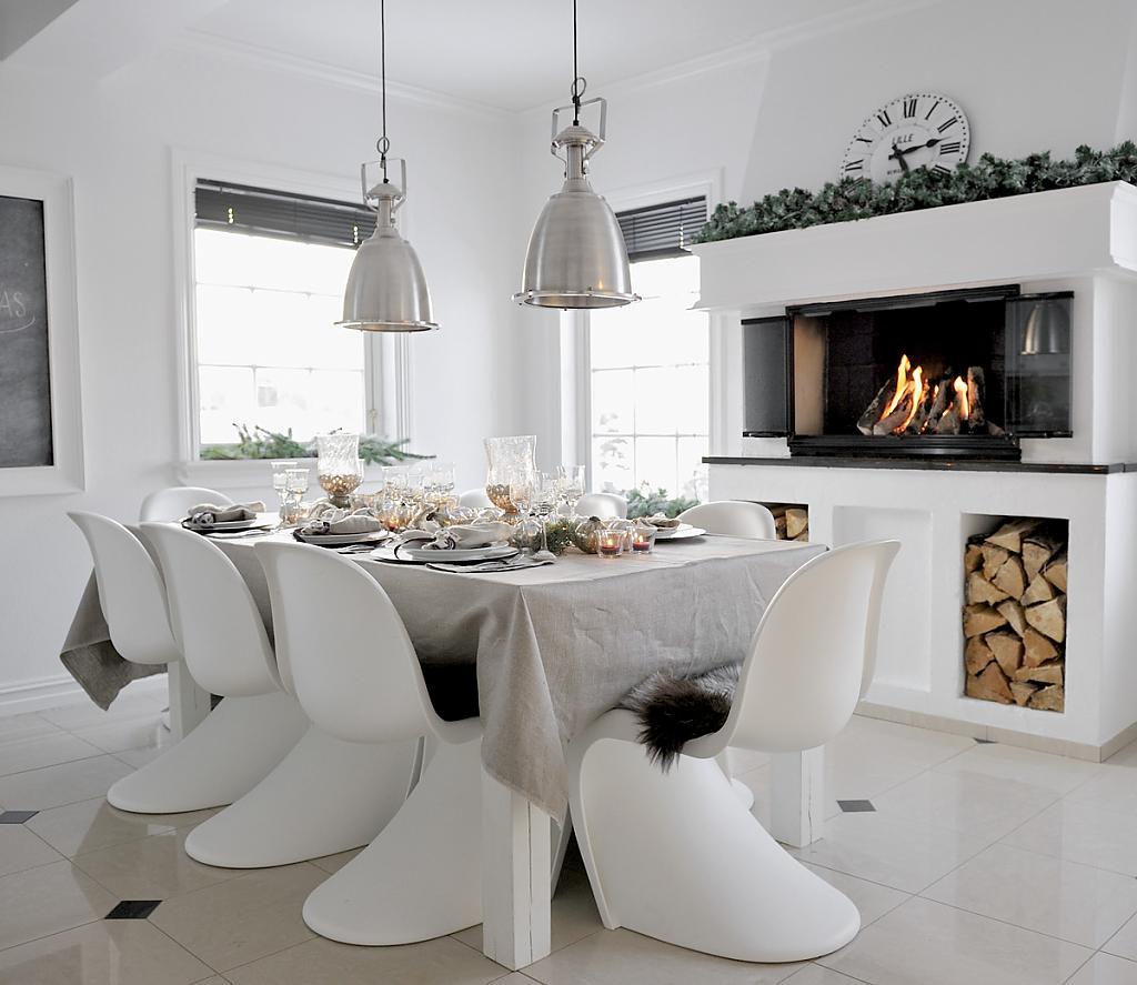 Оригинальный дизайн интерьера белой кухни в стиле модерн