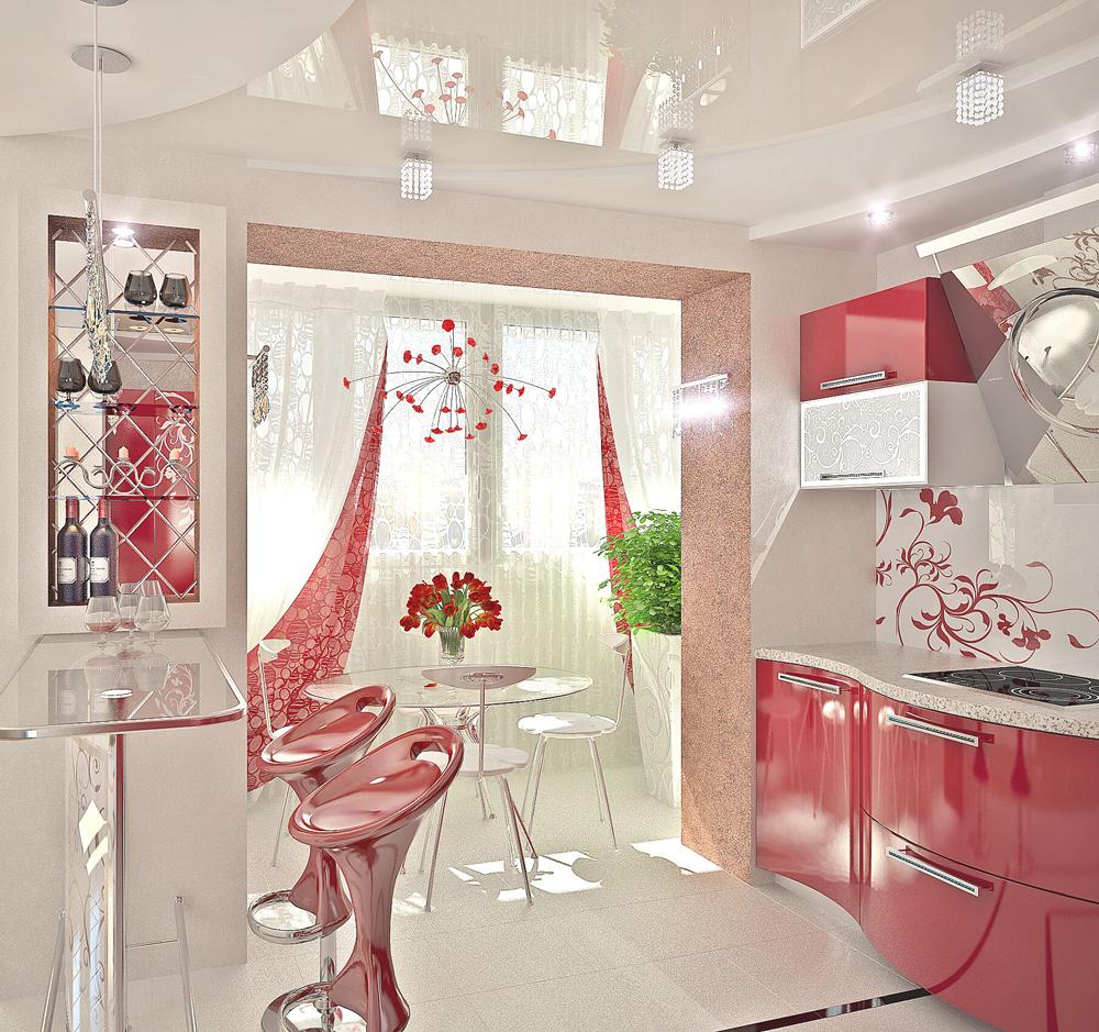Оригинальный дизайн интерьера красно-белой кухни в стиле модерн