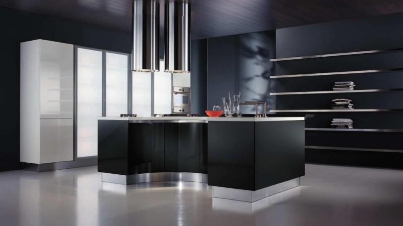 Оригинальный дизайн чёрной кухни Interesting от The Poles Company