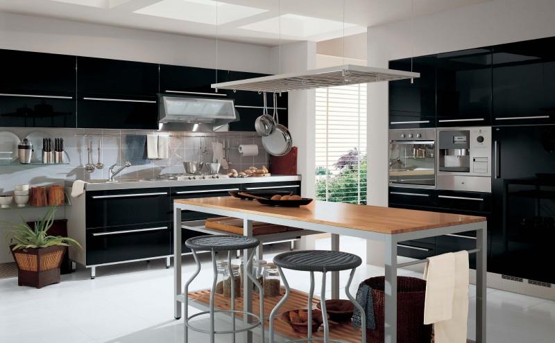 Оригинальный дизайн чёрной кухни Contrasting от The Poles Company