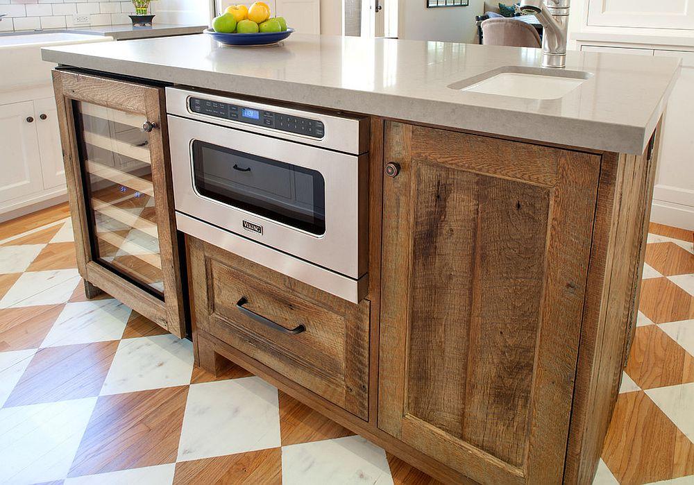 Дерево в интерьере кухни: кухонный остров - фото 1