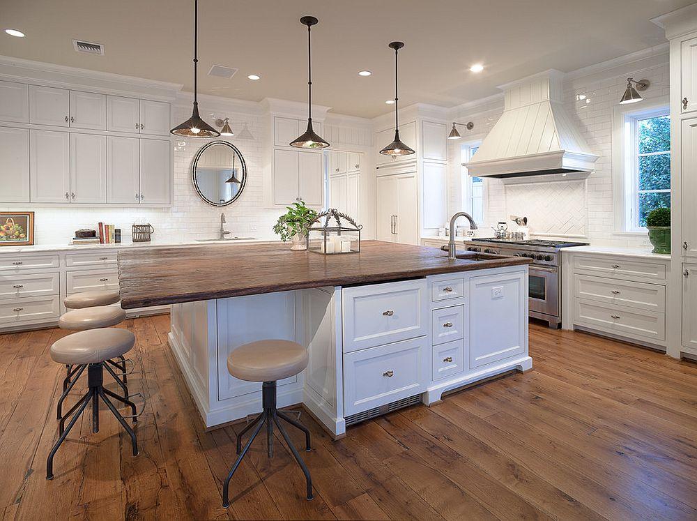 Дерево в интерьере кухни: кухонный остров - фото 2