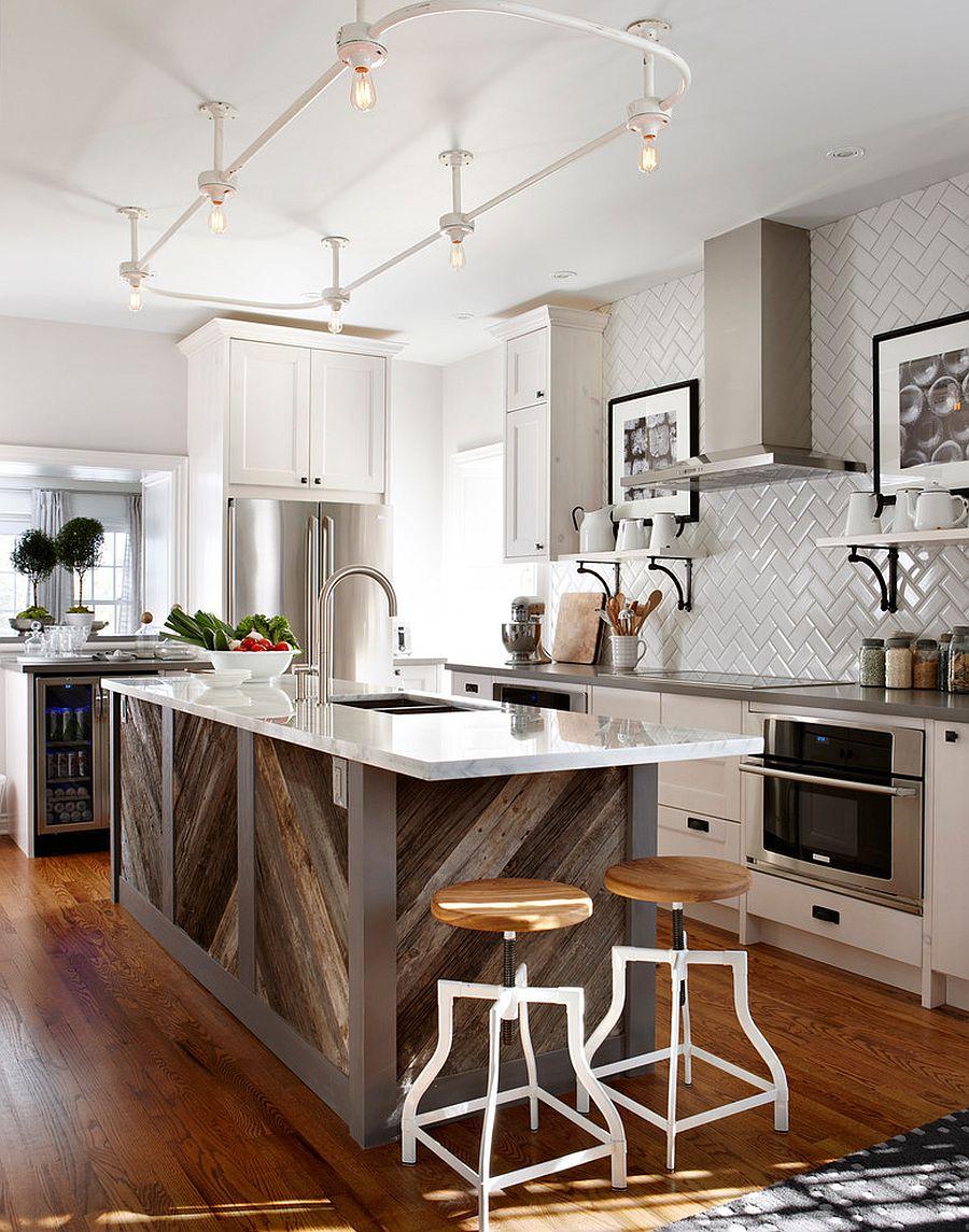 Дерево в интерьере кухни: кухонный остров - фото 3