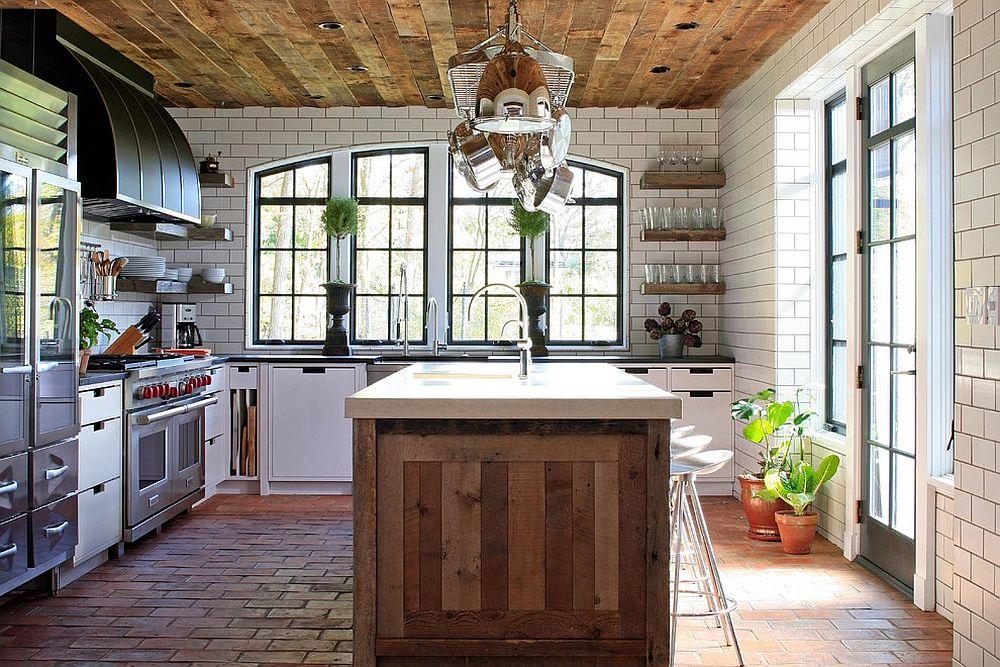 Состаренное дерево в интерьере кухни - фото 4