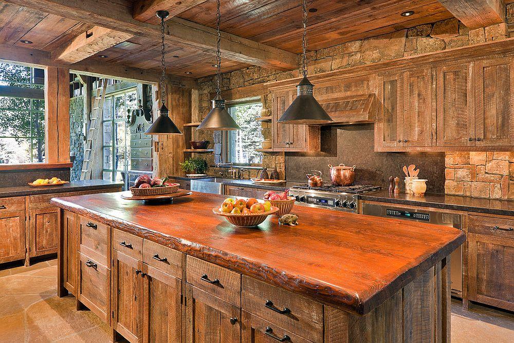 Дерево в интерьере современной кухни - фото 2