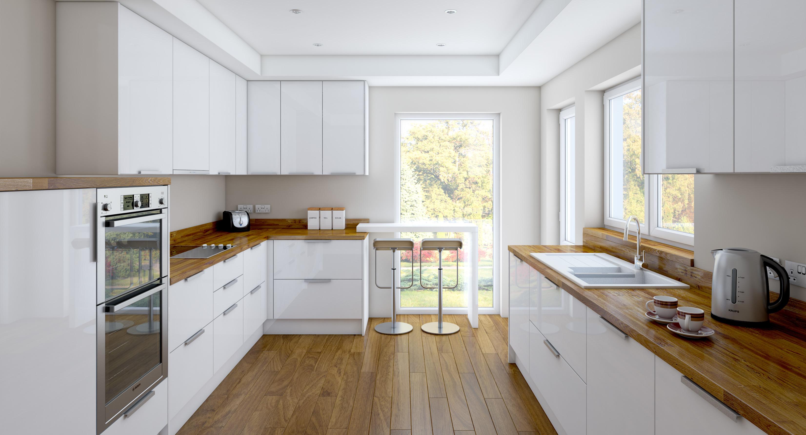Деревянные кухонные столешницы в светлых тоннах украшают интерьер - фото 8