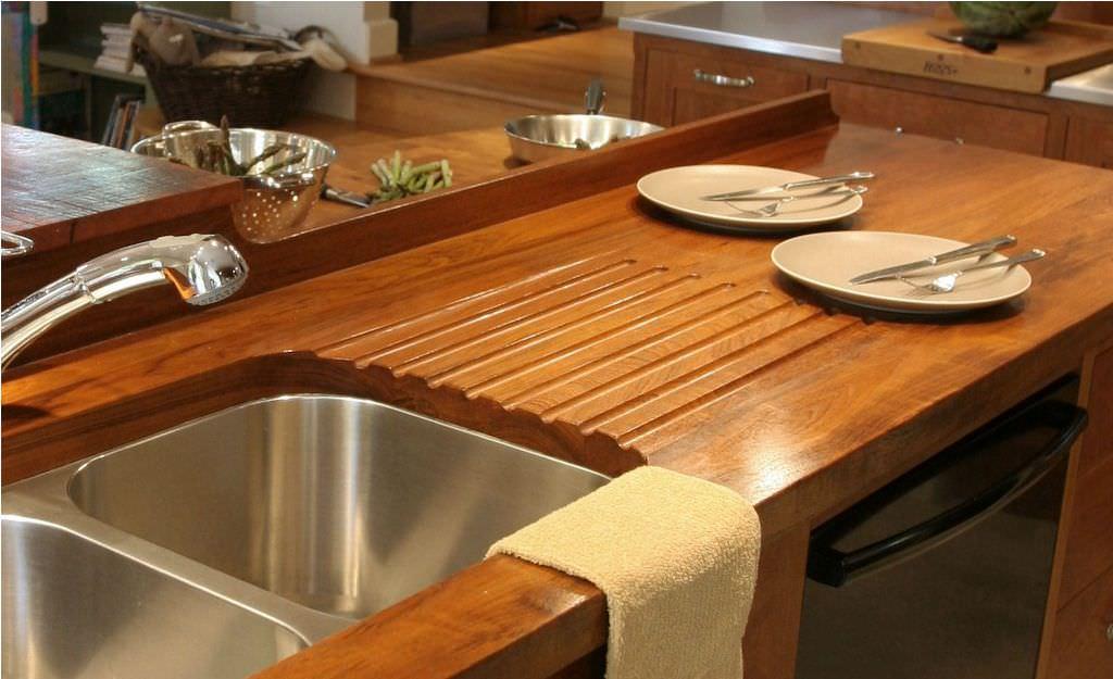 Деревянные кухонные столешницы из полированного дерева- фото 6