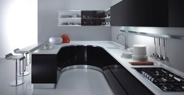 Великолепное оформление кухни в чёрно-белом цвете