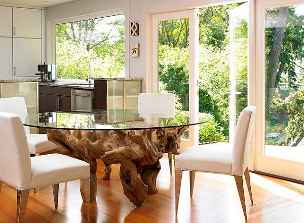 Круглый стеклянный стол на основе из масива дерева