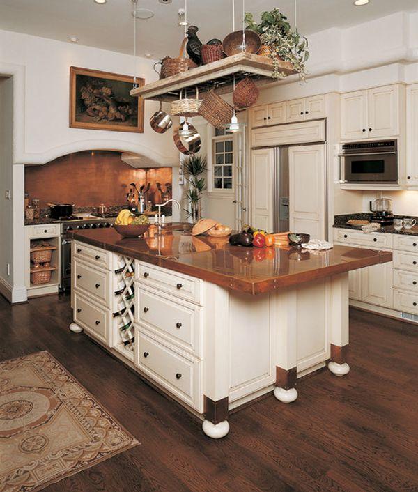 Медная столешница кухонного острова