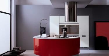 Креативный дизайн кухни Timo Plus от Biefbi в красном цвете
