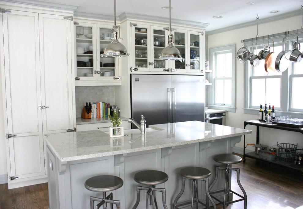 Стильный дизайн интерьера кухни в белой гамме