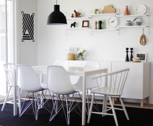 Стильный обеденный комплект в интерьере кухни