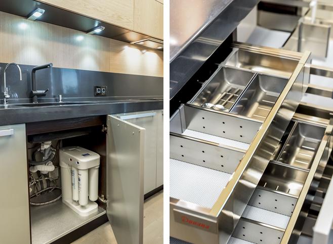 Фотоколлаж: выдвижные ящики в кухонном гарнитуре