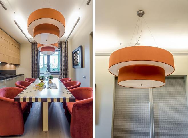 Фотоколлаж: креативные подвесные светильники с ярким оранжевым абажуром
