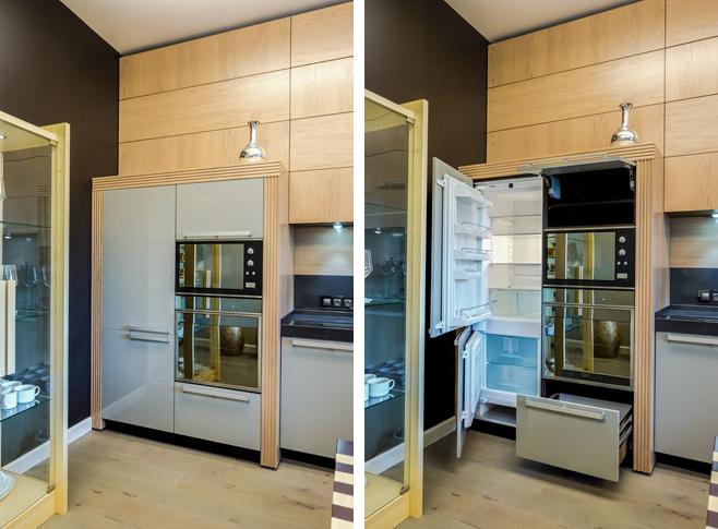 Фотоколлаж: встроенная бытовая техника в интерьере кухни-столовой